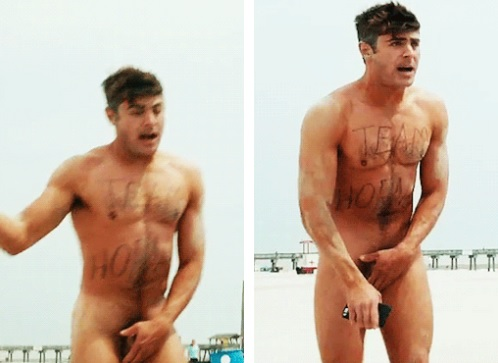 Zac Efron Naked on the Beach